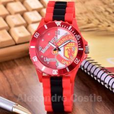 Alexandre Costie Jam Tangan Pria Body Red - Red/White Dial - RedBlack Rubber Band - AC-RK-MU-006R-Red-Red/White- RedBlack Rubber Band