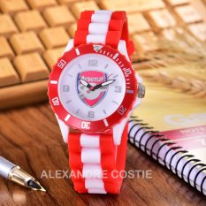 Alexandre Costie Jam Tangan Pria Body Red - White Dial Rubber Band - AC-RK-ARS-006F-RedWhite-Rubber Band
