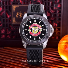 Alexandre Costie Jam Tangan Pria - Body Silver - Black Dial - Black Rubber Band - AC-RK-3821-MU-SB-Black Rubber