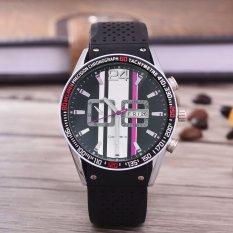 Alexandre Costie Jam Tangan Pria  - Body Silver  –Black Dial – Black Rubber Strap - AC-RK-9991-T/H-SB