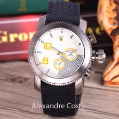 Alexandre Costie - Jam Tangan Pria - Body Silver - White Dial - Black Rubber Band - AC-RK-9995-SW-Kuning