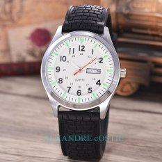 Alexandre Costie - Jam Tangan Pria - Body Silver - White Dial - Rubber Band - AC-RK-TGL-HR-P-5251-W