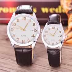 Alexandre Costie - Jam Tangan Pria dan Wanita - Body Silver - White Dial - Black Leather Strap - AC-5501D-GL-SW-TGL-(gold)-BLACK LEATHER STRAP-Couple