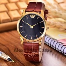 Alexandre Costie - Jam Tangan Unisex - Body Gold - Black Dial - kulit Coklat - AC-3732C-GB-Brown Leather Strap