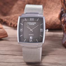 Alexandre Costie  Original Brand, Jam Tangan Pria - Body Silver - Black Dial - Stainless Stell Mesh Band - AC-RT-2343A-G-TGL-SB-Stainless Steel Mesh Band-CL