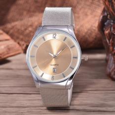 Alexandre Costie  Original Brand, Jam Tangan Pria - Body Silver - White Dial - Stainless Stell Mesh Band - AC-RT-5266B-G-TGL-SW-Stainless Steel Mesh Band-CL