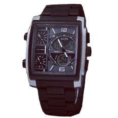Alfa Four Time - Jam Tanga Pria - Black - ALFA Tristan Silver Black - A571