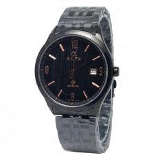 Alfa watch Slim ALF225 Jam Tangan Pria - Strap Stainless Steel - Hitam - Kaca Safir -Tanggal