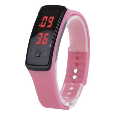 Amart 2 x Sport LED Silicone Rubber Touch Screen Digital Watches Waterproof Wrist Watch(Pink) - Intl