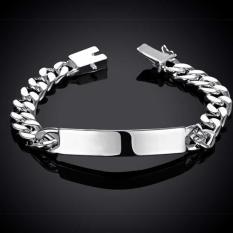 Harga Amart Perhiasan 925 Sterling Silver 10Mm Sisi Datar Rantai Gelang Untuk Unisex Pria Intl Baru Murah