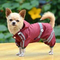 Amart Anak Anjing Peliharaan Keren Jas Hujan Tahan Air Jas Hujan Glisten Bar Hoody Pakaian (XL Anggur) -Internasional