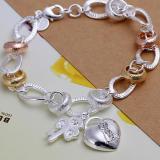 Tips Beli Amart Sterling Silver Hanging Bunga Bertatahkan Batu Heart Lock Key Gelang Rantai Silver International Yang Bagus