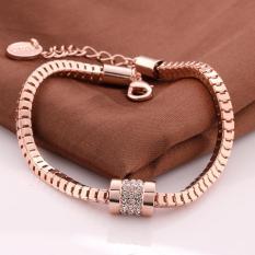 Amart Kristal Zirkon Bulat Fashion Gelang Lady Rose Emas Plated Charm Bracelet Bangles untuk Wanita Hadiah-Intl