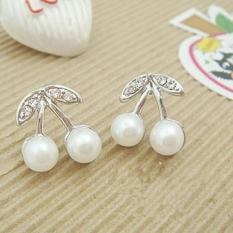 Amefurashi Anting Korea Ceri Putih White Cherry Stud Earring Beauty