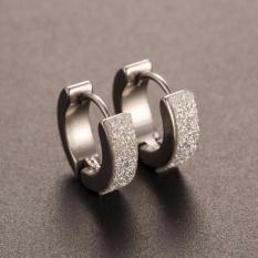 Amefurashi Anting Stainless Steel Hoop Piercing Round Crystal Stud Earring By Amefurashi.