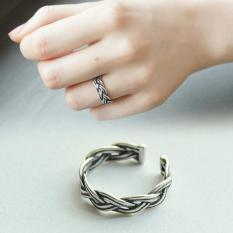 Amefurashi Cincin Open Vintage Silver Twisted Ring