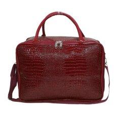 AMT Tas Koper Travel Bag Pria dan Wanita Kulit Buaya Sintetis - Merah