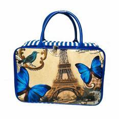 AMT Tas Travel Bag Koper Kanvas Pria dan Wanita Premium Paris Kupu - Biru