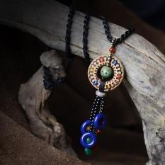 Kuno 1000 Rotan Gaya Rakyat Necklace Handmade Pottery Painted Ceramic Tembaga Bead Necklace Tassel Sweater Rantai Listener- INTL