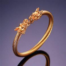Totem naga timur kuno berbentuk elastis yang dapat memutar kabel gelang manset warna Gold - International