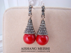Angin Nasional Merah Produk Asli Penuh Berlian Anting-Anting Elegan Anting