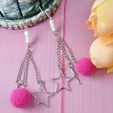 Anneui - EE0341 - Anting Fashion Wanita Women Earrings Bola Bulu Rantai Pendant