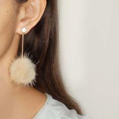 Jual Anting Tusuk Wanita Korea Pompom Metal Vertical Strip Long Earrings Okt483 Original