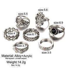 Antik antik warna Gold 7pcs/set Silver warna menyerah Ring Set bulan bunga daun perhiasan