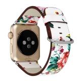 Beli Apple Watch Band Nasional Putih Floral Mencetak Jam Tangan Kulit Tali Untuk Apple Watch Desain Bunga Wrist Watch Gelang Untuk Iwatch38 Mm Kredit Tiongkok