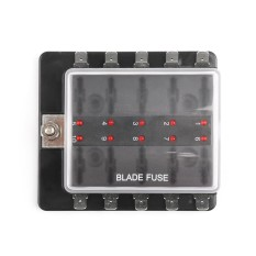 Areyourshop SCI R3-76 1 Power In 10 Way Blade Fuse Box LED Fuse Holder Kit Car/Boat/Marine - intl