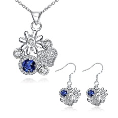 Buatan Perhiasan Online Glass Women Romantis Pesta Anting Kalung Tembaga Kalung/Anting-Anting Emas Disepuh Tanaman-Intl