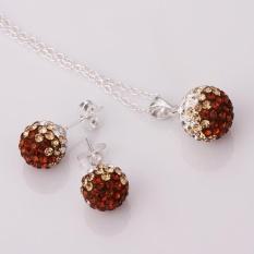 Buatan Perhiasan Belanja Online Rhinestone Women Pesta Klasik Kalung Earrings SILVER DISEPUH Kalung/Anting-Anting Emas Disepuh Bulat-Internasional