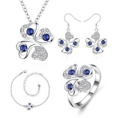 Perhiasan Buatan Belanja Online Zirkon Wanita Trendi Anting Pesta Cincin Kalung Gelang Tembaga Perhiasan Pengantin Set Gold Berlapis Tanaman-Intl