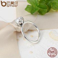 Asli 925 Sterling Silver Ring dengan White Air Tawar Berbudaya Mutiara Asli Keanggunan Budidaya Stackable Cincin 6 7 8 9 Ukuran PA7118