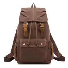 AUGUR Canvas Backpack Straw String Outdoor Perjalanan Gunung Tas Dicuci Canvas Bag dengan Kulit Camping Rucksack