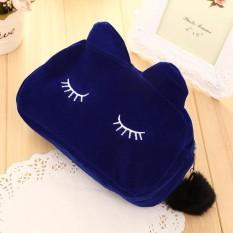 AUkEy Store Baru Desain Terbaru Kosmetik Cute Cat Makeup Bag Case Organizer dengan Zipper Pemegang Handbag Travel-Intl
