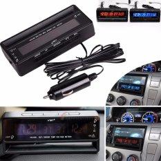 Auto Mobil LCD Digital Termometer Tegangan Monitor Meter Alarm Clock Suhu-Intl