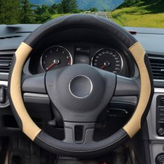 Auto Steering Wheel Covers, Diameter 14-15 Inch, Kulit PU, For Musim Penuh, Hitam And Beige Ukuran M-Intl