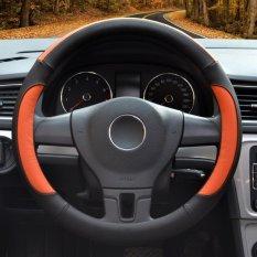 Car Steering Wheel Covers, Diameter 14-15 Inch, Kulit PU, untuk Musim Penuh, Hitam dan Oranye Ukuran M-Intl
