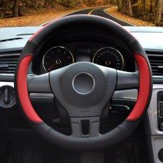 Car Steering Wheel Covers, Diameter 14-15 Inch, Kulit PU, untuk Musim Penuh, Hitam dan Merah Ukuran M-Intl
