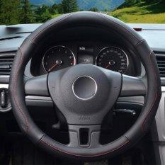 Auto Steering Wheel Covers, Diameter 14-15 Inch, Kulit PU, untuk Musim Penuh, Hitam Ukuran M-Intl