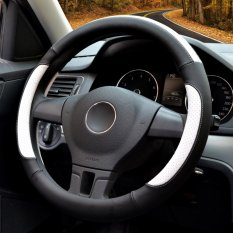 Jual Beli Auto Steering Wheel Covers Diameter 15 Inch Kulit Pu Untuk Musim Penuh Hitam Dan Putih Intl Baru Tiongkok