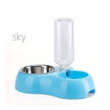 Miliki Segera Otomatis Cat Feeder Minum Dispenser Hewan Peliharaan Mangkuk Air Biru Intl