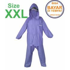 Axio - Jas Hujan Karet Rubber PVC Bahan Tebal Dan Berat 1,5Kg - Biru Tua XXL
