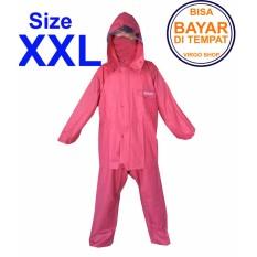 Axio - Jas Hujan Karet Rubber PVC Bahan Tebal Dan Berat 1,5Kg - Merah XXL