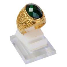 Ayodhya Cincin Batu Zamrud Emerald Hijau Titanium Gold 003 - Cincin Pria