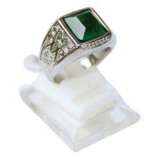 Jual Beli Online Ayodhya Cincin Batu Zamrud Emerald Hijau Titanium Silver Etnic Impor 002 Cincin Pria