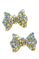 AZONE Berlian Imitasi Berlian Imitasi Anting Bow Tie (Emas)