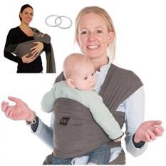 Bayi Carrier Pembungkus Sling Lingkaran-2 Sling Cincin Ditambahkan untuk Ibu Menyusui-Saku Besar-Bayi Pancuran Yang Sempurna hadiah Kapas Tenunan untuk Bayi Baru Lahir, bayi, Balita-Gelap Grey-Internasional