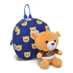 Bayi Perempuan & Anak Laki-laki Tas Sekolah dengan Cute Cartoon Bear Anak-anak Hadiah Ulang Tahun Anak Sekolah Tas Bayi Ransel (Biru)